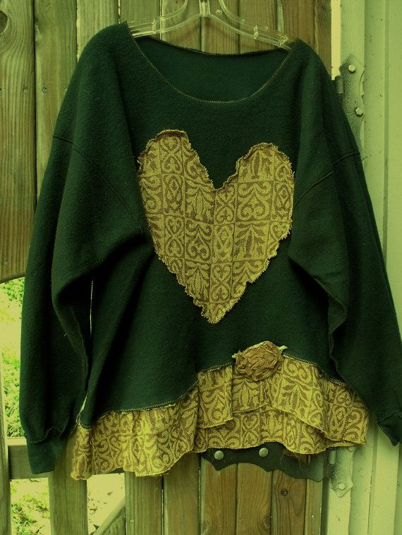 Plus Size Fleece Sweatshirt/Inside Out /Brown-Yellow by SheerFab