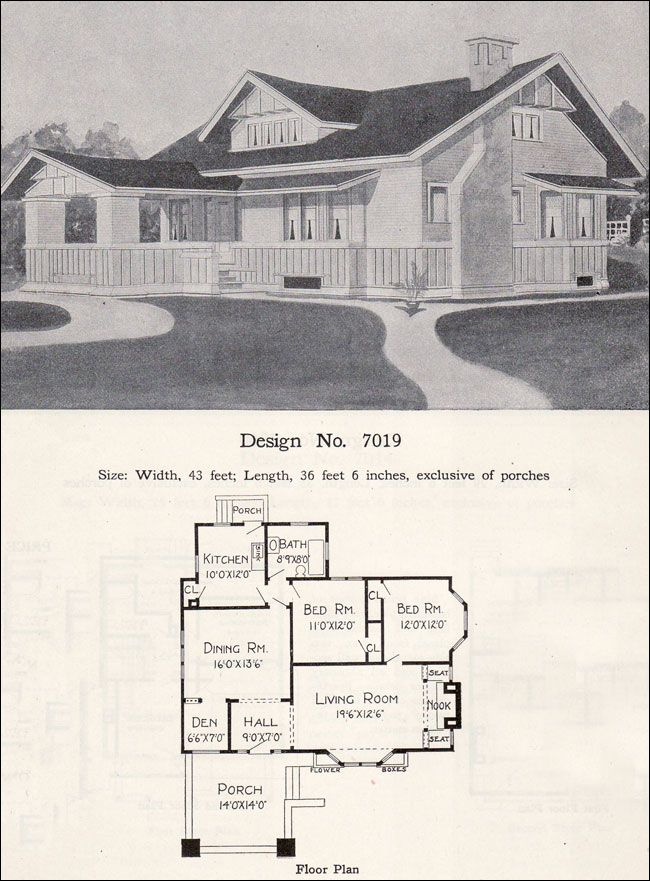 Prairie Bungalow One Story 1908 Radford No 7019 Vintage House Plans House Floor Plans Small Floor Plans