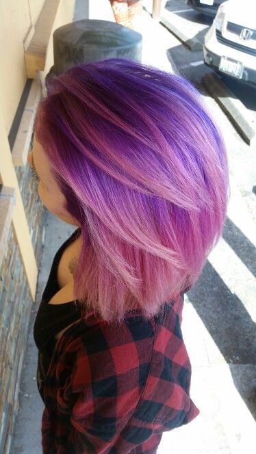 I Love My New Hair Colors Fits Me So Well Too Purple Pink Ombre Balayage Shorthair Aline Hair Color Highlights Short Purple Hair Bright Hair Colors