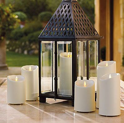 Outdoor Moving Flame Ivory Resin Battery Operated Candle 7 Inch Timer Remote Ready Outdoor Lanterns Outdoor Candles Candle Lanterns