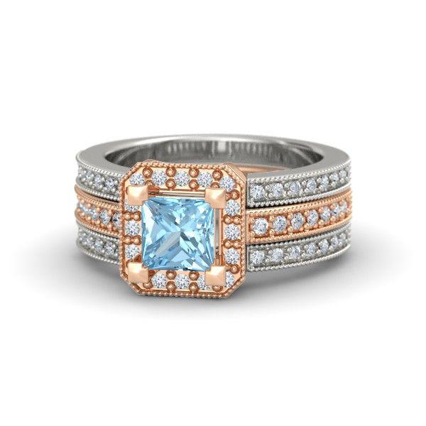 The Va Va Voom Ring customized in aquamarine, diamond, rose and white gold