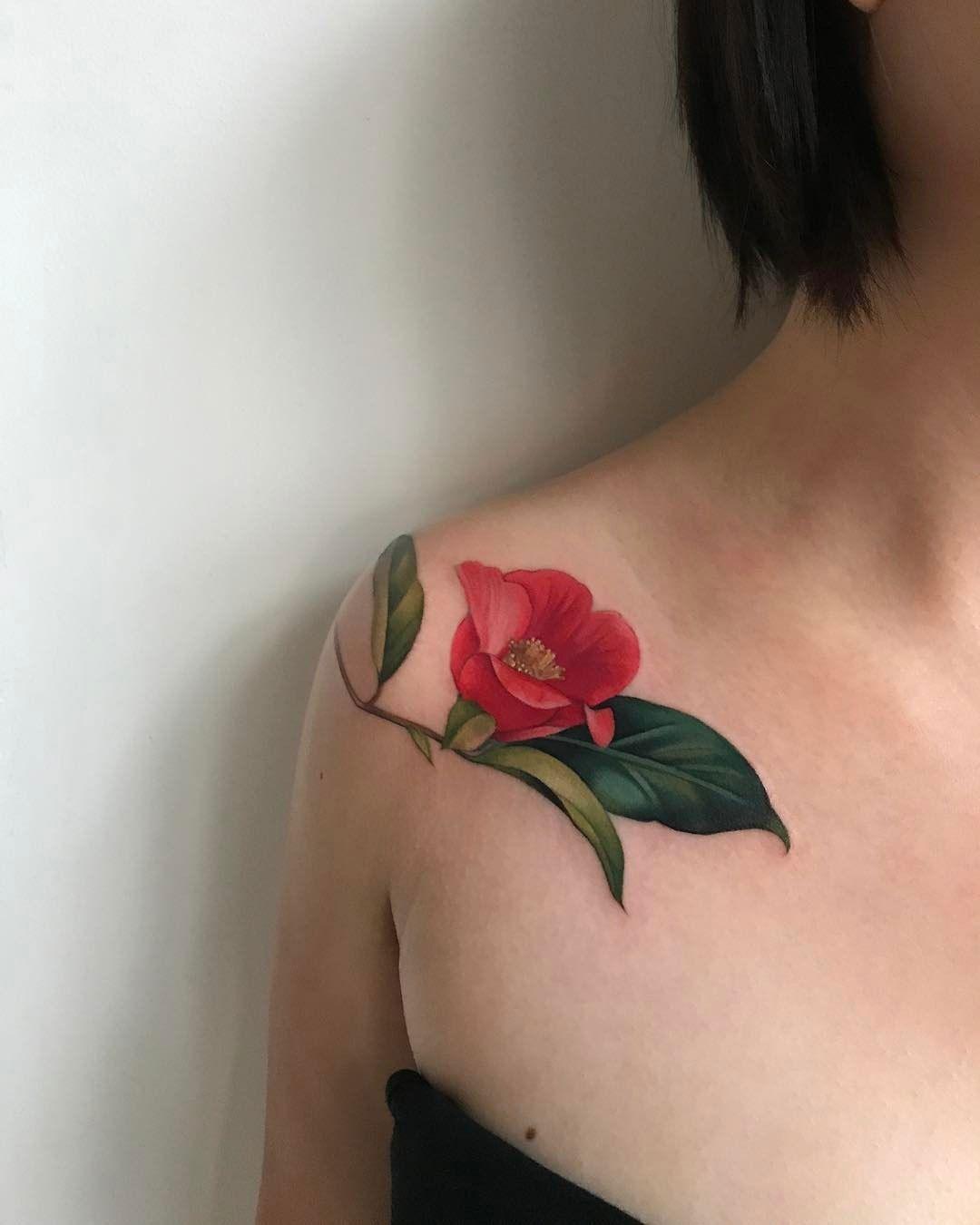 Camellia Flower Tattoo By Amanda Wachob Gorgeous Tattoos Flower Tattoo Floral Tattoo