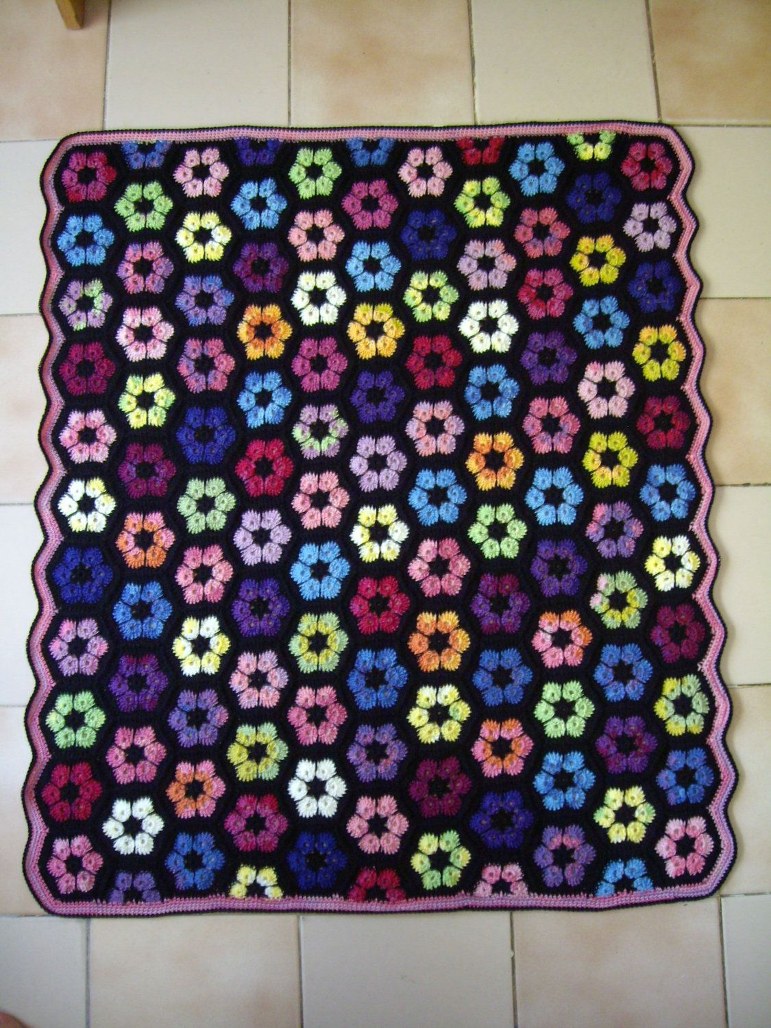 Granny Square Crochet Rug...Crochet Colorful Afghan...Knitted ...