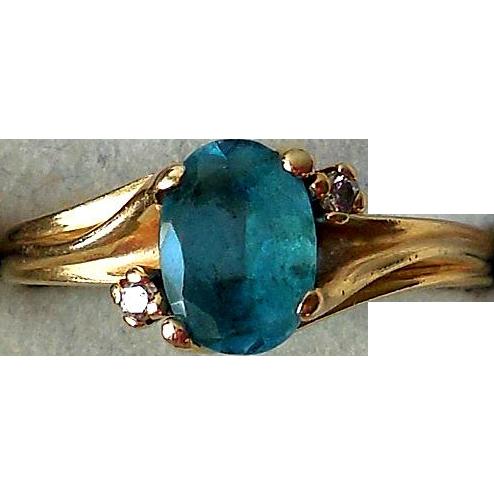 Vintage 14K Yellow Gold, Blue Topaz, Diamonds Estate Ring found at www.rubylane.com @rubylanecom
