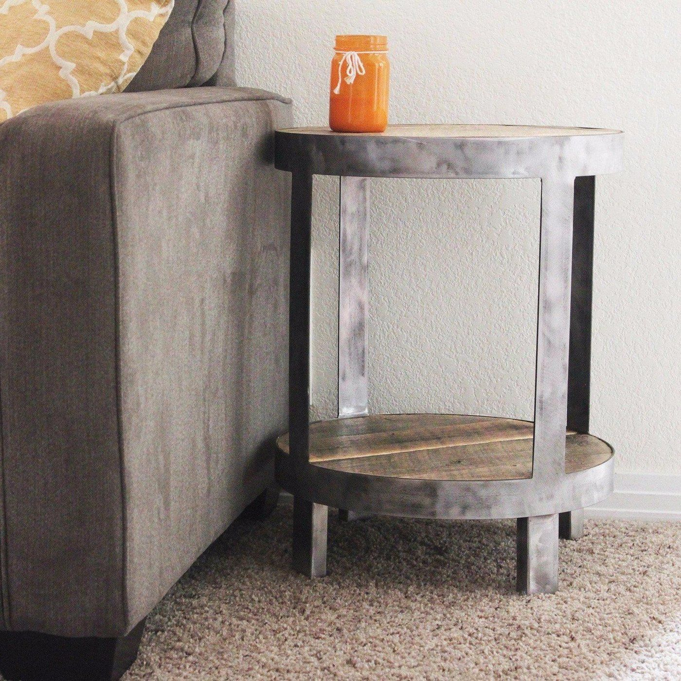 Reclaimed Wood Side Table Round Bi Level Free Shipping Side