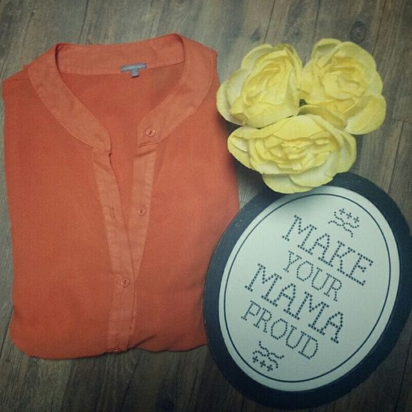 Make your mama proud orange top A sheer, oversized, quarter length sleeve, botton down sheer orange top. A very fun bright color.  In excellent condition. Tops Blouses
