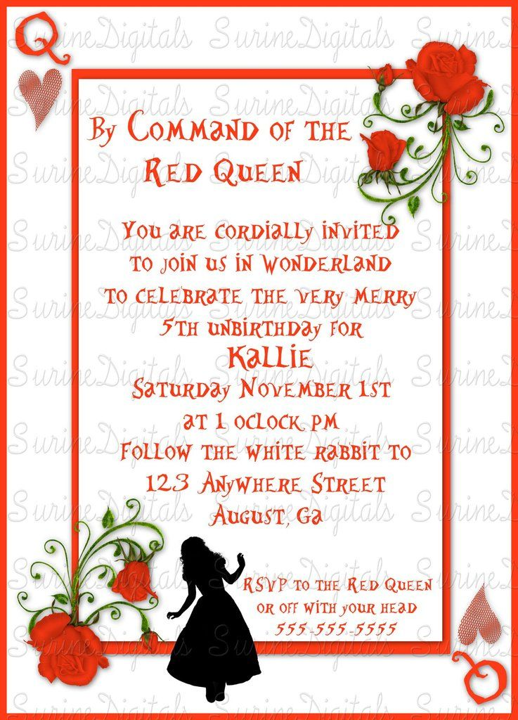 Queen of Hearts Alice in Wonderland Themed Birthday Party invitation ...