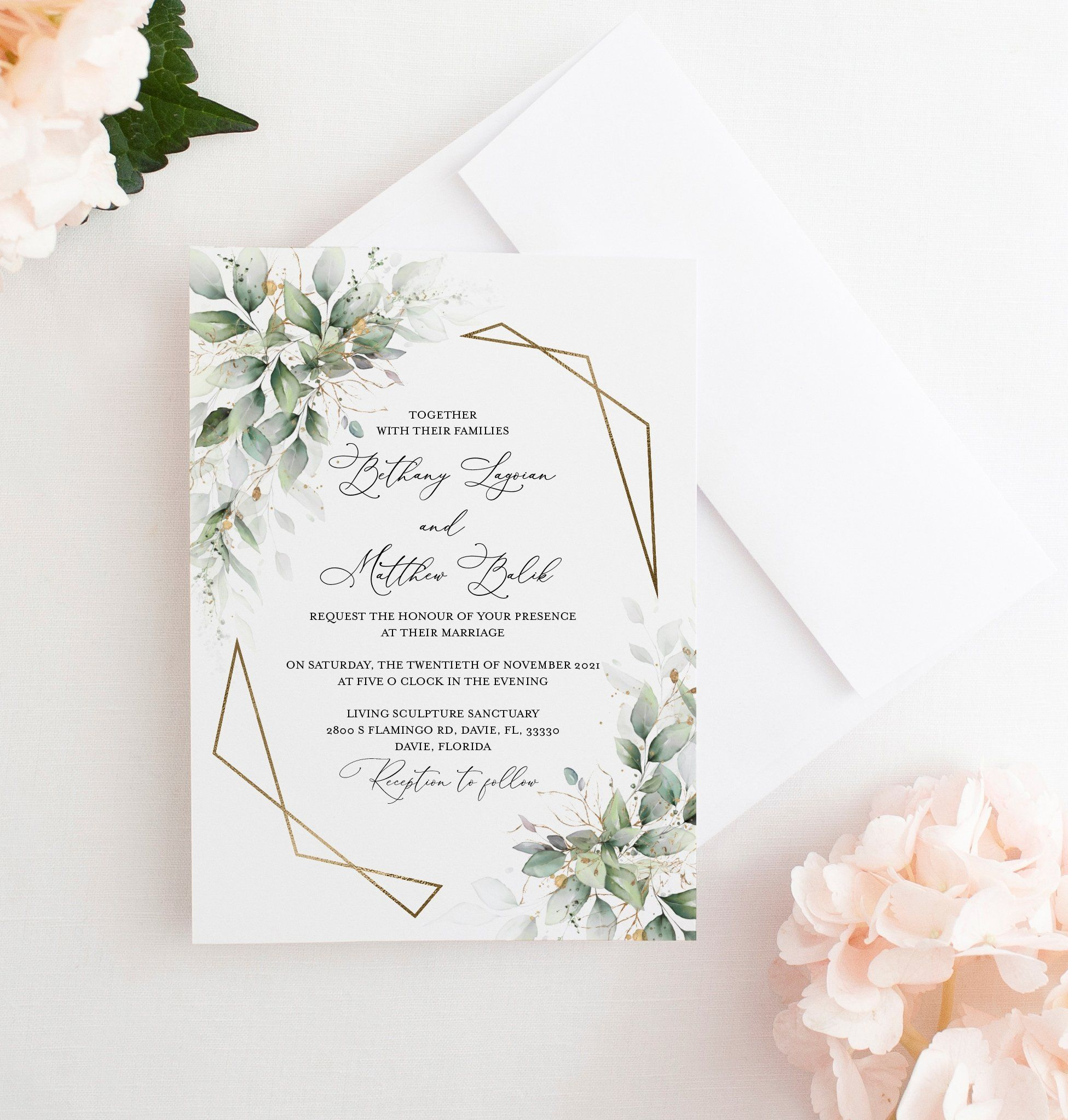 Greenery Wedding Invitation Printed Gold Geometric Frame With Green Le In 2020 Printing Wedding Invitations Greenery Wedding Invitations Wedding Invitations