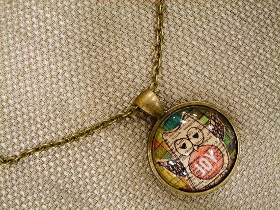 Joy Owl Collage Pendant Necklace by Lexisworks on Etsy, $32.00