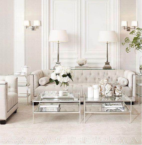 Beige White Silver Livingroom By Eichholtz Living Room White