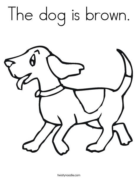 The dog is brown Coloring Page - Twisty Noodle | Coloring ...