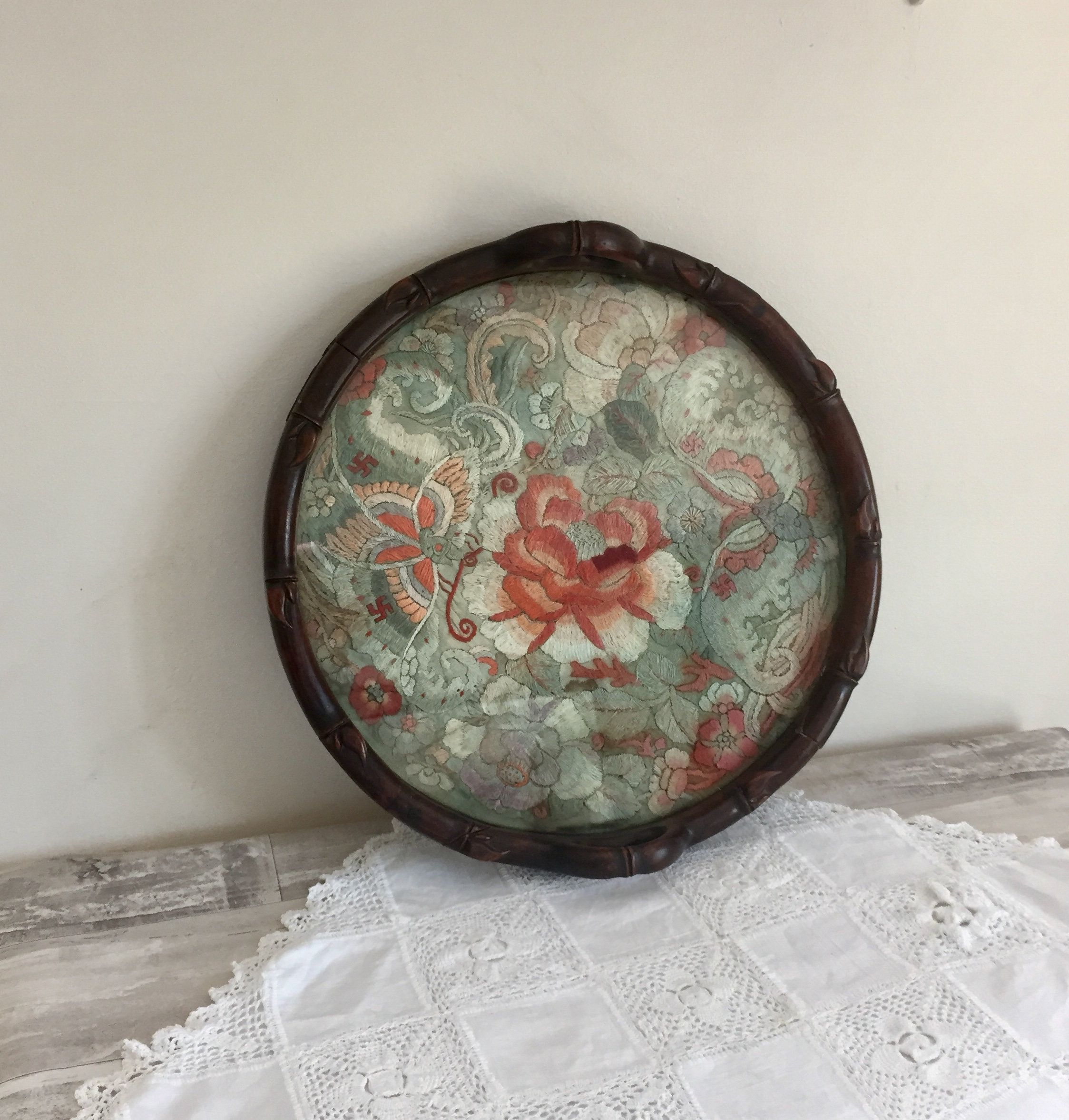 Beautiful old tray tapestry
