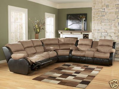MIDWAY - MODERN MICROFIBER MASSAGE RECLINER SOFA COUCH SECTIONAL ...