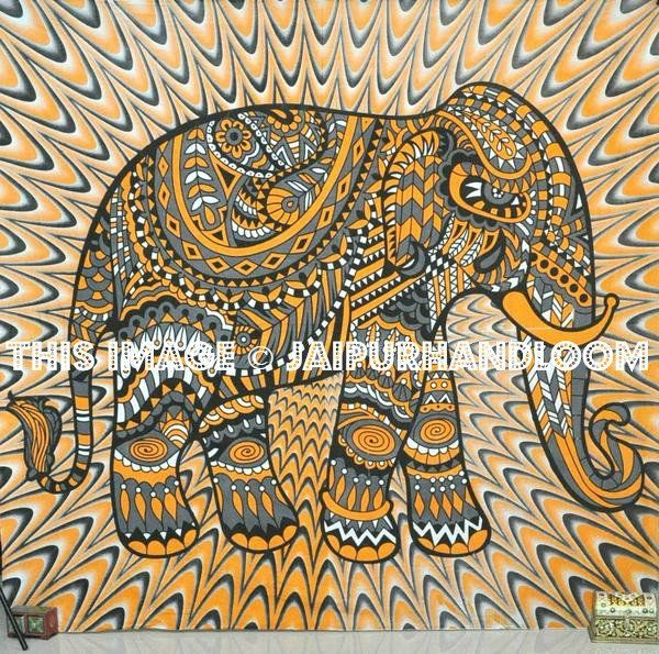 Orange elephant tapestry dorm room wall decor full size elephant bedspread images