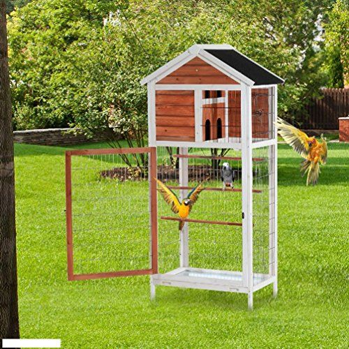 Bird Cage Wooden Cockatiel Parakeet Canary Finch Conure Play House