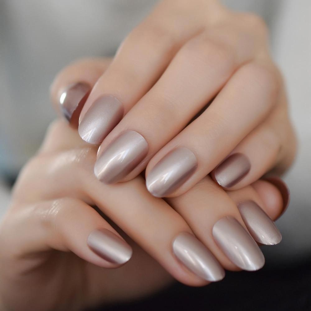 Satin Glossy Color Nails Oval Short Light Brown Fake Nails Kit Super Natural Shape Nail Art Manicure Tips Perfect For Daily Prof Nail Kit Nail Polish Manicure