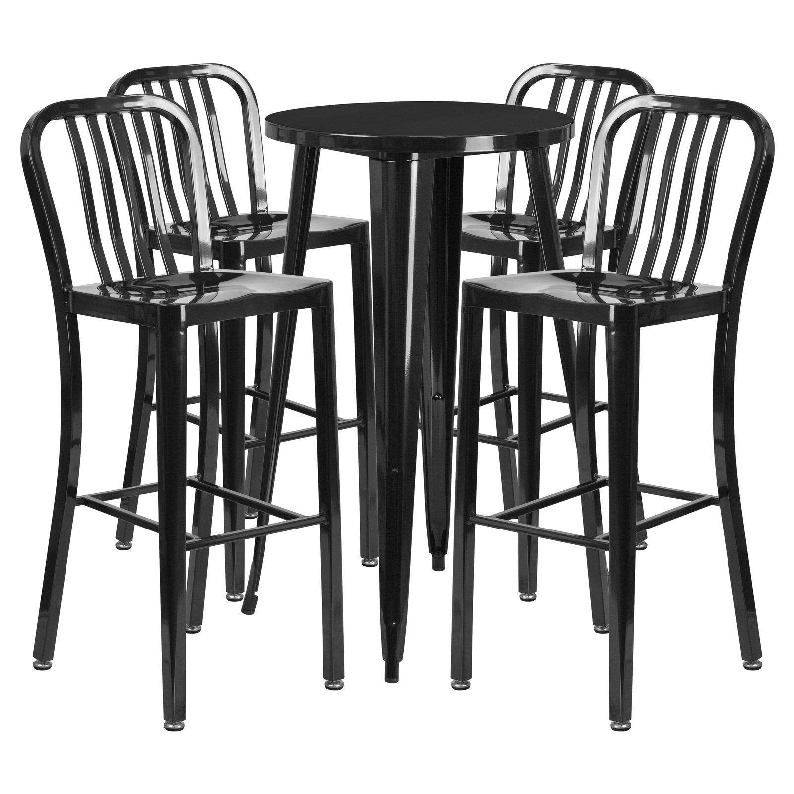 Flash Furniture 24 In Round Metal Indoor Outdoor Bar Table Set