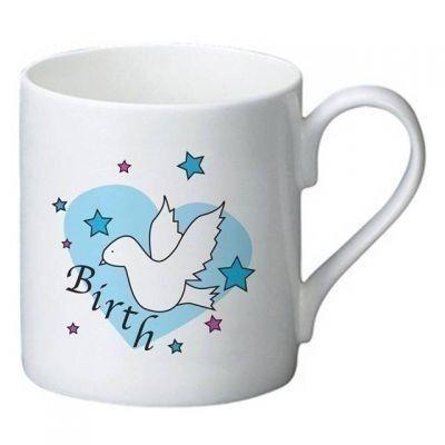 Dove & Hearts Blue Birth Bone China Mug - Choose a name and message to be printed on the mug. £9.99 #BabyGifts #BabyMug #BirthGifts #NewBaby