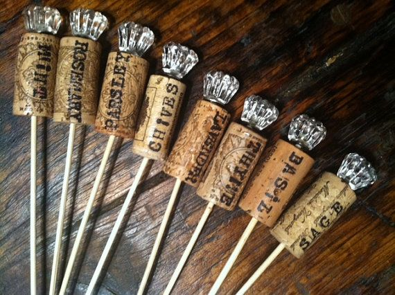 Pretty nifty idea unique wine cork garden markers by for Garden design ideas cork