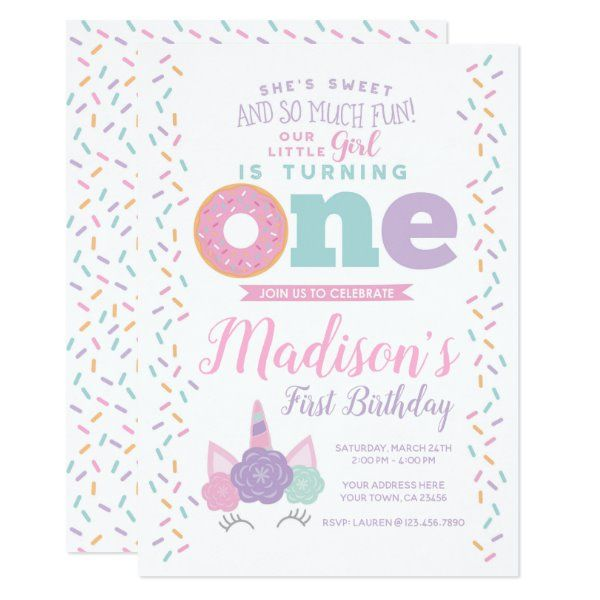 Unicorn and Donut 1st Birthday Invitation   Zazzle com - 1st birthday invitations, Birthday invitations, Kids birthday party invitations, Party invitations kids, First birthday invitations, Donut birthday parties - Personalize this cute Unicorn & Donut 1st Birthday Invitation with your own details! You will be able to edit all the text