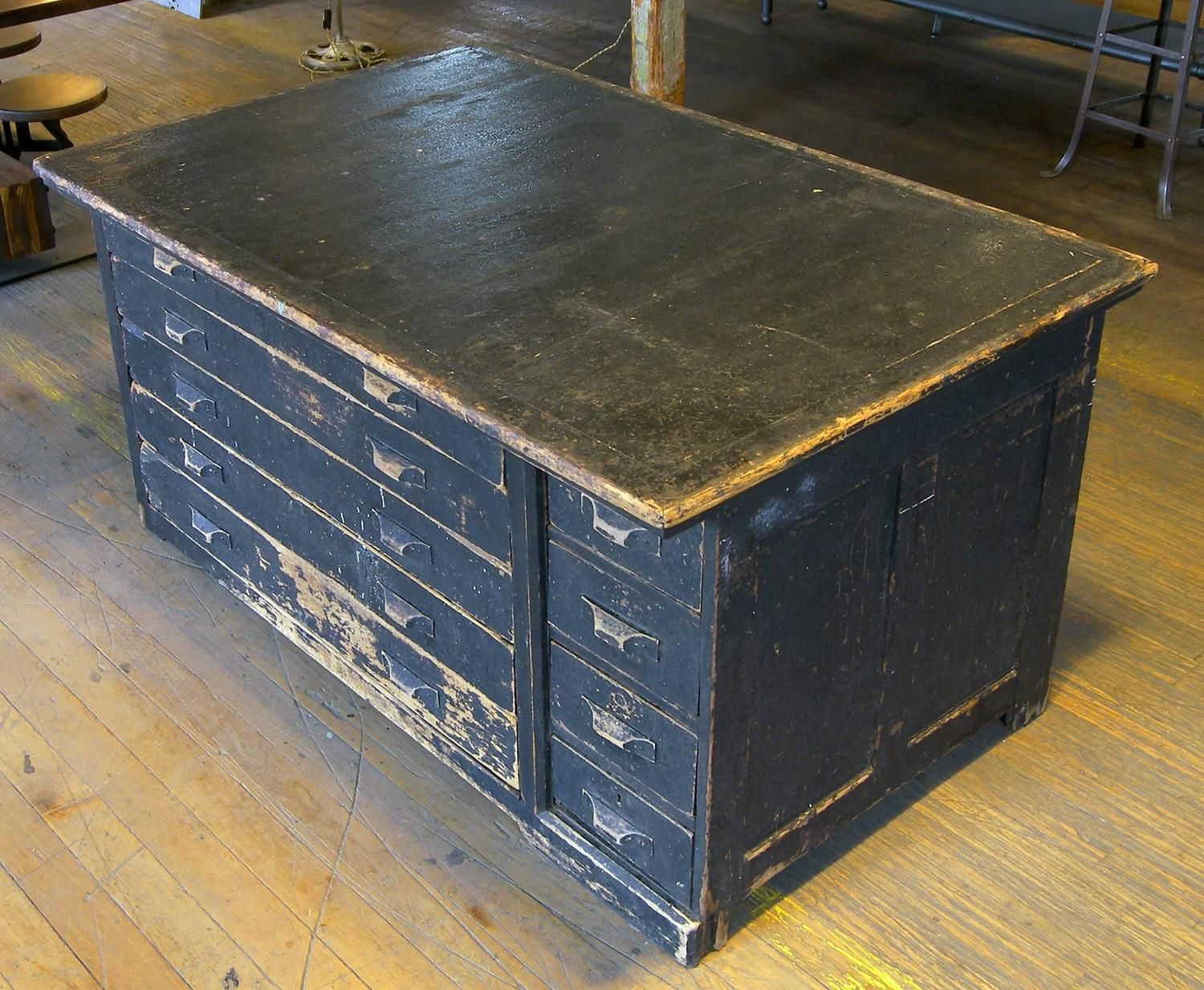 Vintage Industrial Antique Wooden Printers Cabinet with Storage Drawers    From a unique collection of antique - Vintage Industrial Antique Wooden Printers Cabinet With Storage