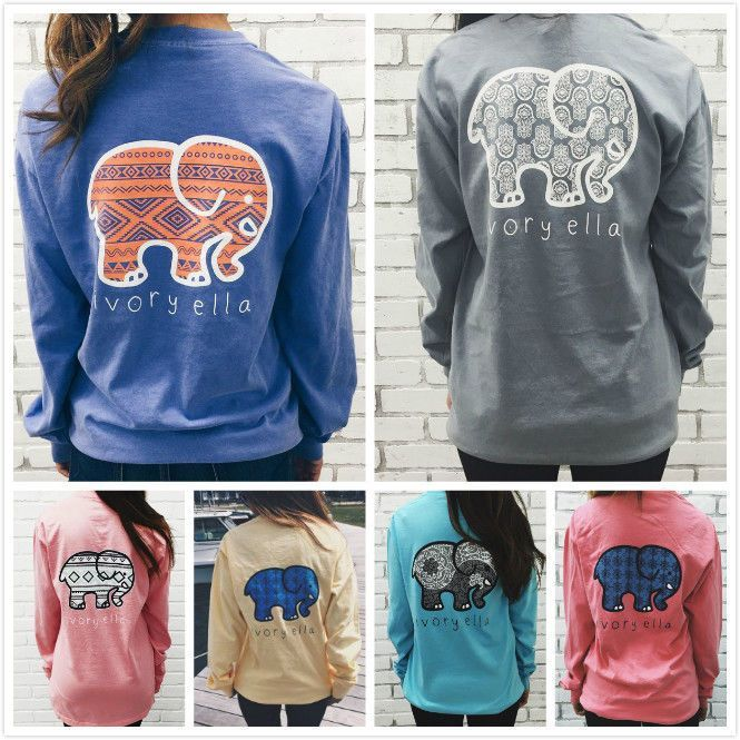 e81c8787884c54 Women S T-Shirts Ivory Ella Elephant Print Classic Soft Tee Long Sleeve Tops