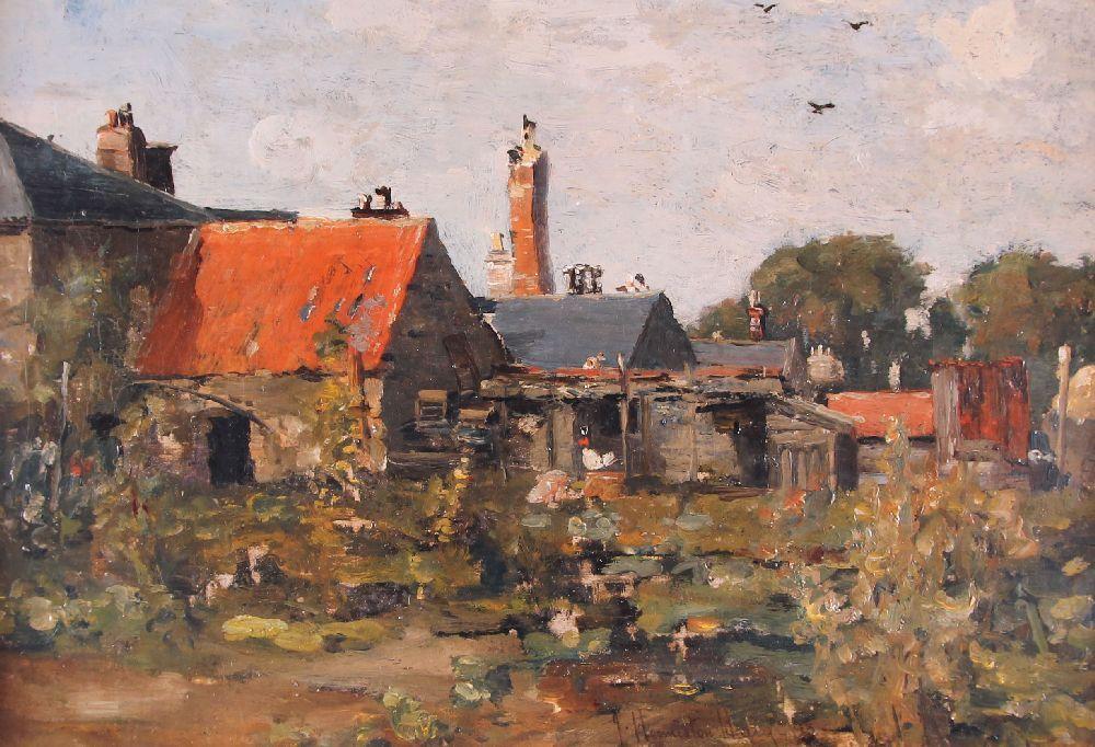 James Hermiston Haig (gest. 1919, schott. Landschaftsmaler), Gehöfte mit Garten, signiert und datiert (18) 98, 30 x 45 cm