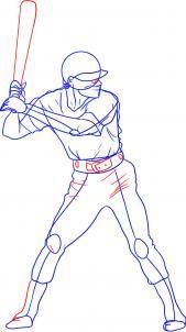 How To Draw A Baseball Player Step 4 Baseball Drawings Baseball Players Baseball Design
