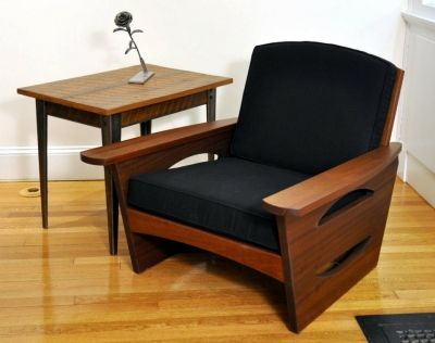 Mid Century Lounge Chair Dorset Custom Furniture Dan Mosheim Vermont  Handmade Handcrafted Vt Solid Natural Painted