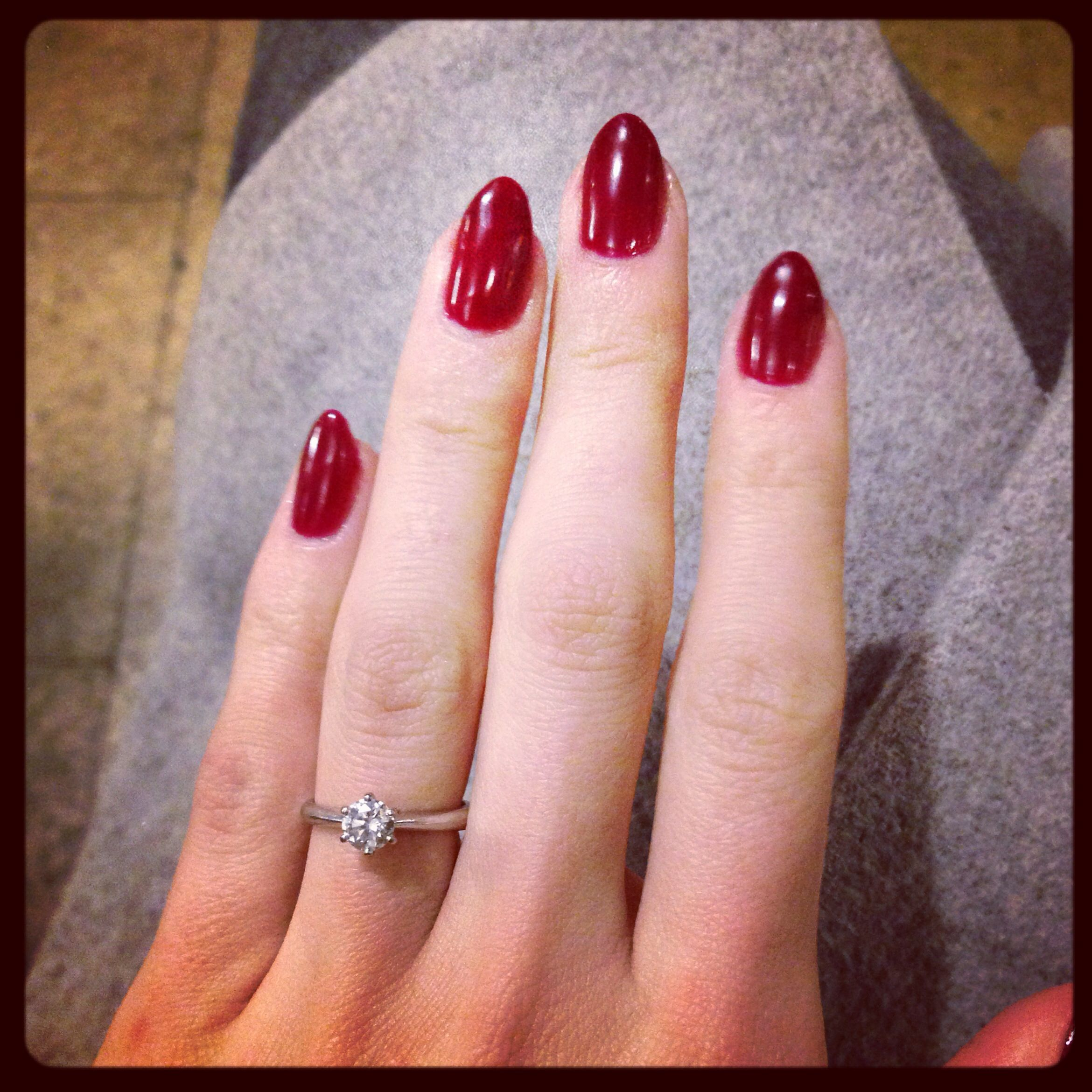Dark red almond nails | • Hair & makeup • | Pinterest | Almond nails ...