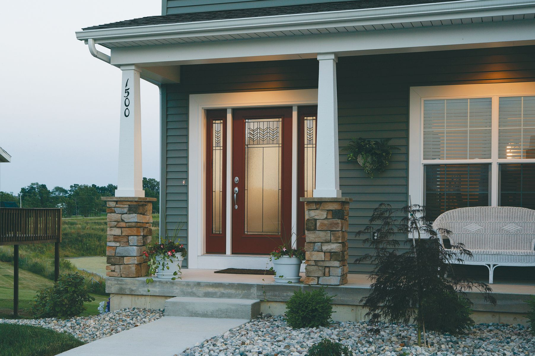 Prairie bevel fiberglass smooth entry door with sidelites entry