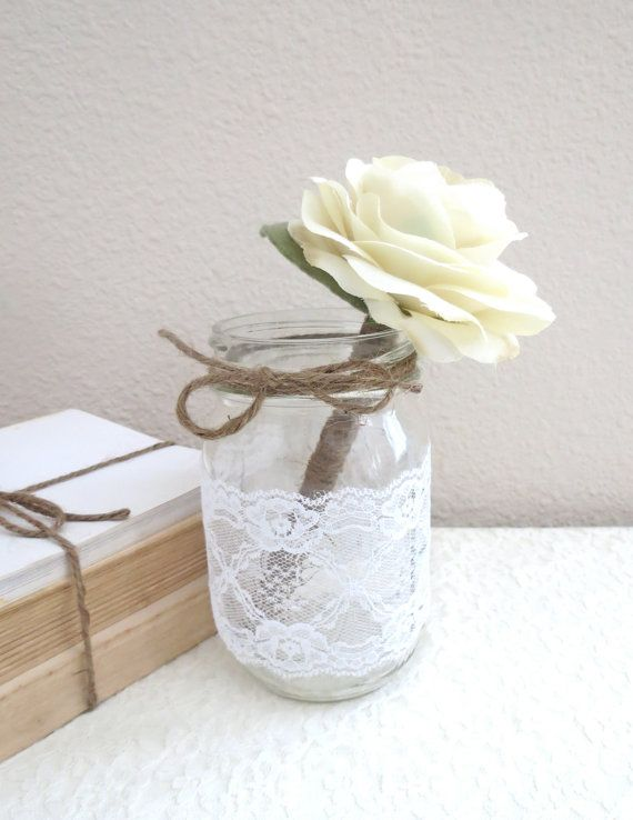 Wedding Pen with Lace Mason Jar