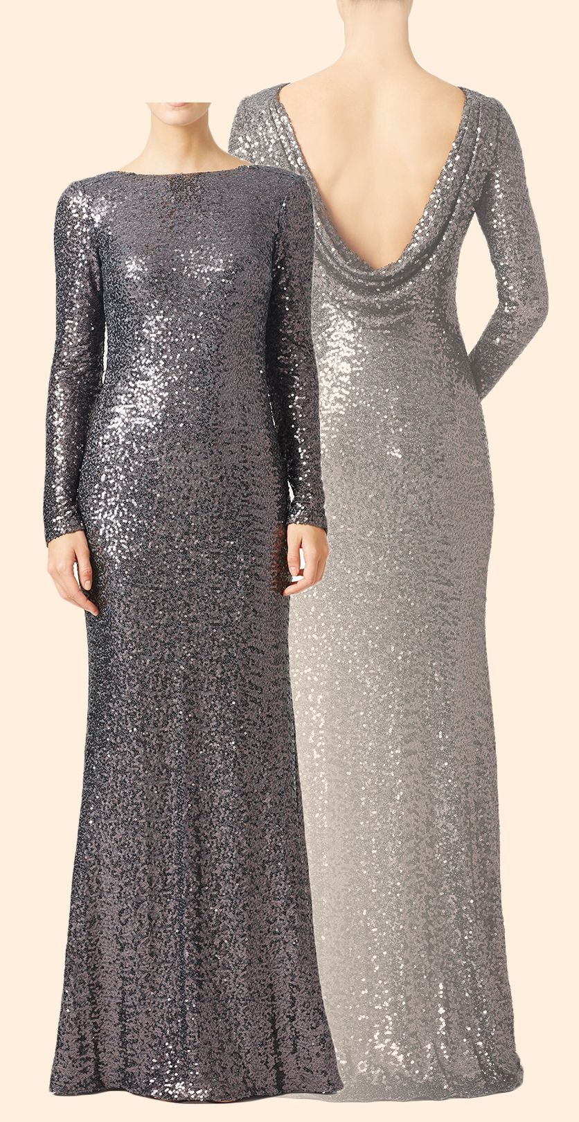 Long sleeves sequin long plus size evening gown gray