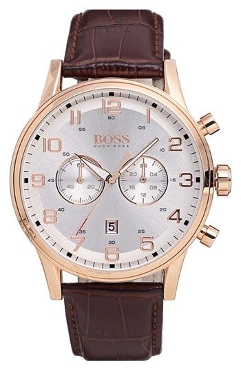 64dd7b6f22a BOSS Chronograph Leather Strap Watch