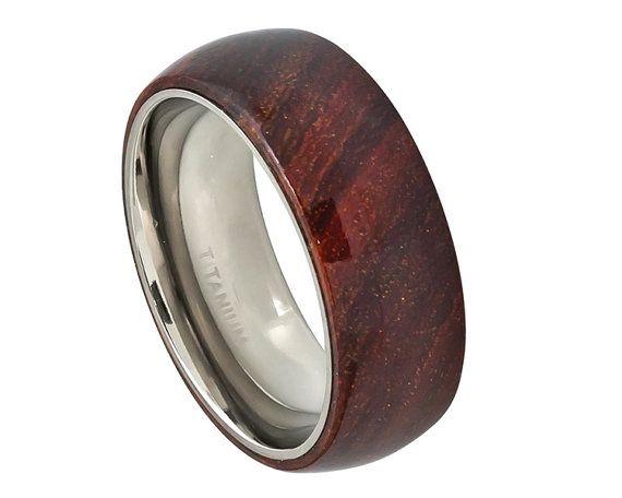 Wood RingMens Titanium Wedding BandTitanium Wooden RingPromise Ring For Men