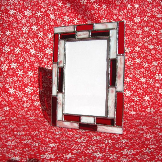 Peppermint Candy Stained Glass 4 x 6 Picture Frame