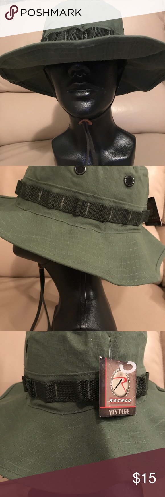 Military Hat Vintage Vietnam Style Boonie Hat in olive drab. Chin cord  strap. Size 7 1 4 f39ed141f32