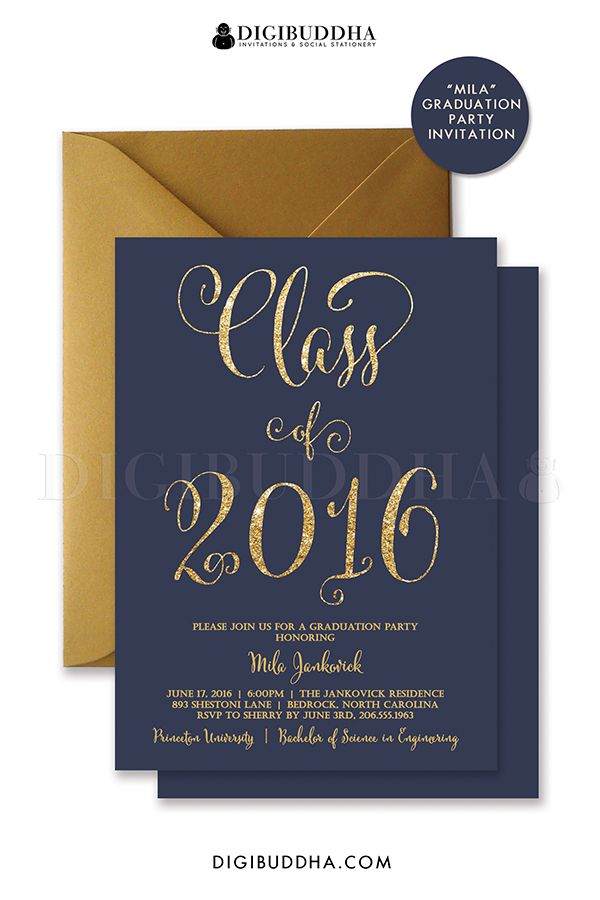 Navy And Gold Glitter Graduation Invitations In Blue Look Calligraphy Perfect