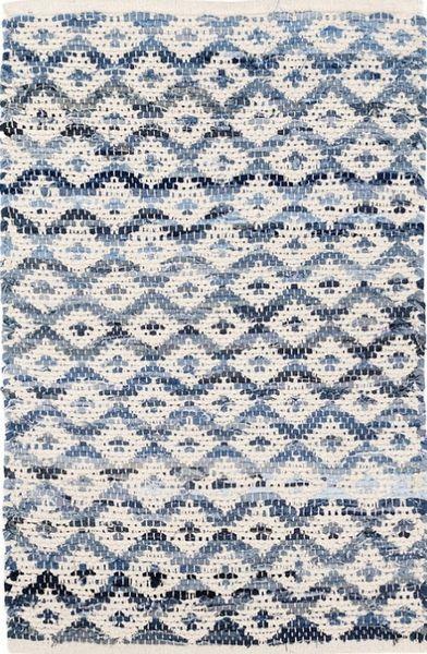 Dash And Albert Denim Rag Diamond Ivory Cotton Rug
