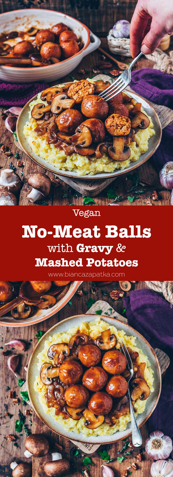 These easy to make NoMeat Balls Vegan Meatballs are the ultimate comfort food Serve them over Mashed Potatoes and drench them in Vegan Gravy for a perfect Christmas dinne...
