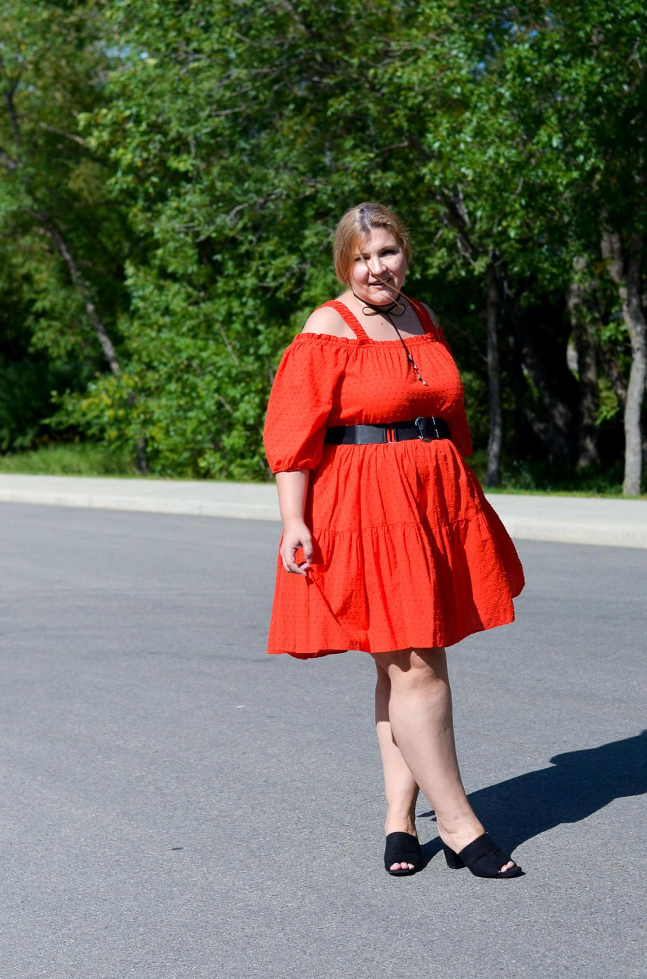 off the shoulder dress, red dress, Zara mules, Chloe bag, plus size, curvy fashion blogger,