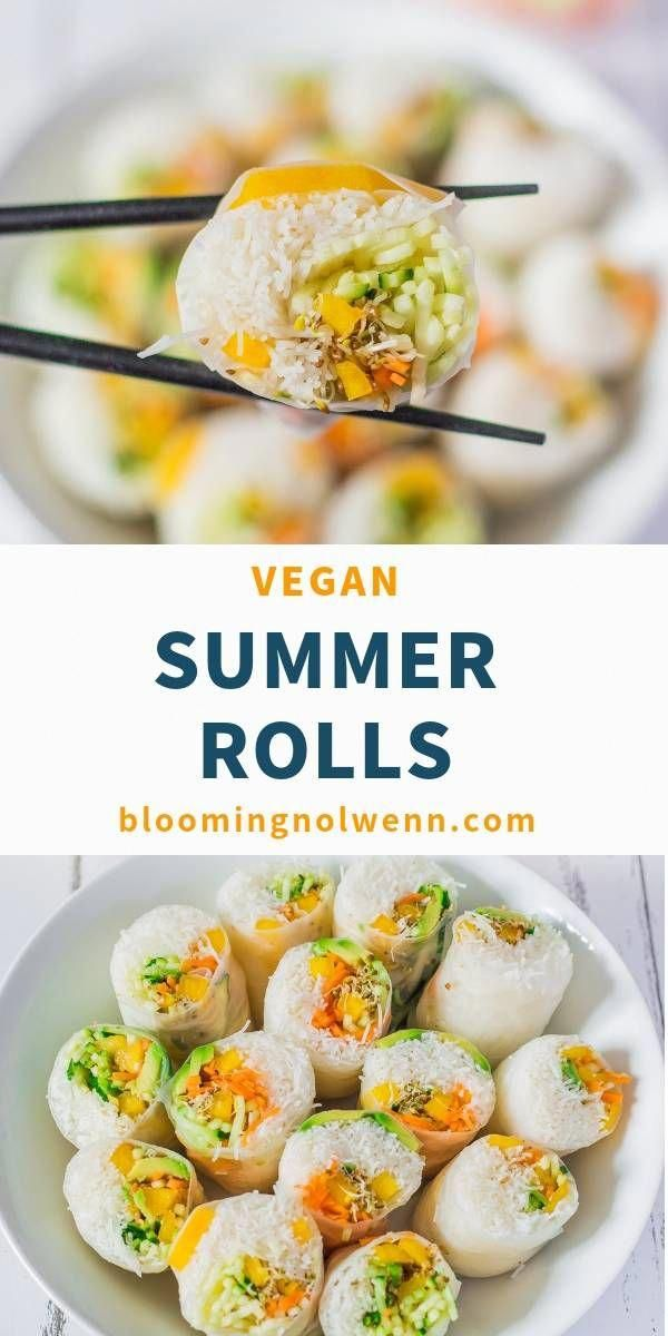 Vegan Rice Paper Summer Rolls are delicious, fresh and easy to make. If you're looking for a healthy and easy vegan recipe for summer, you will love these spring rolls! #summerrecipes #springrolls #ricerecipes #HealthyFoodRecipesToLoseWeight