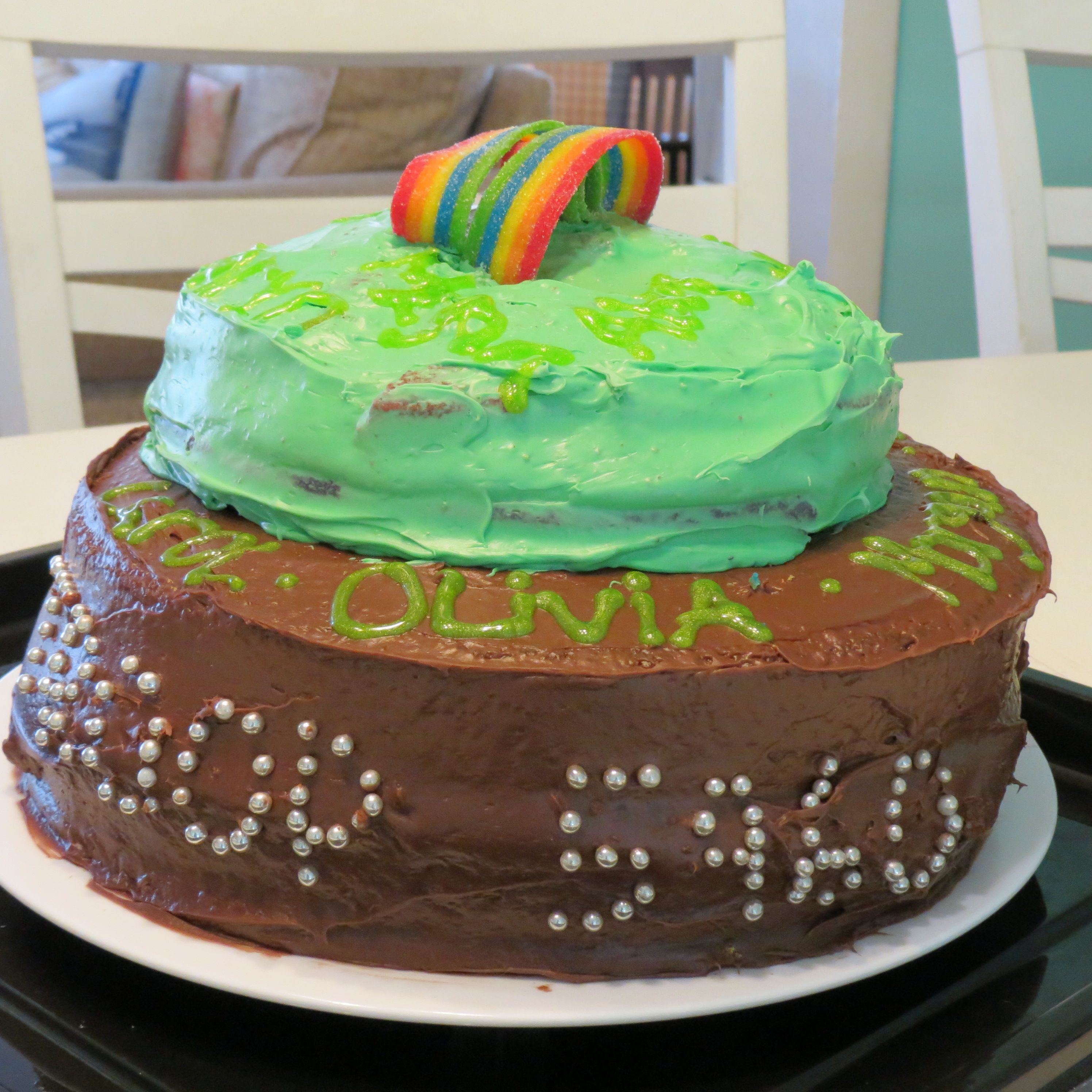 Girl Scout bridging cake. Troop bridged from Brownies to Juniors. All of their names were written on the cake.