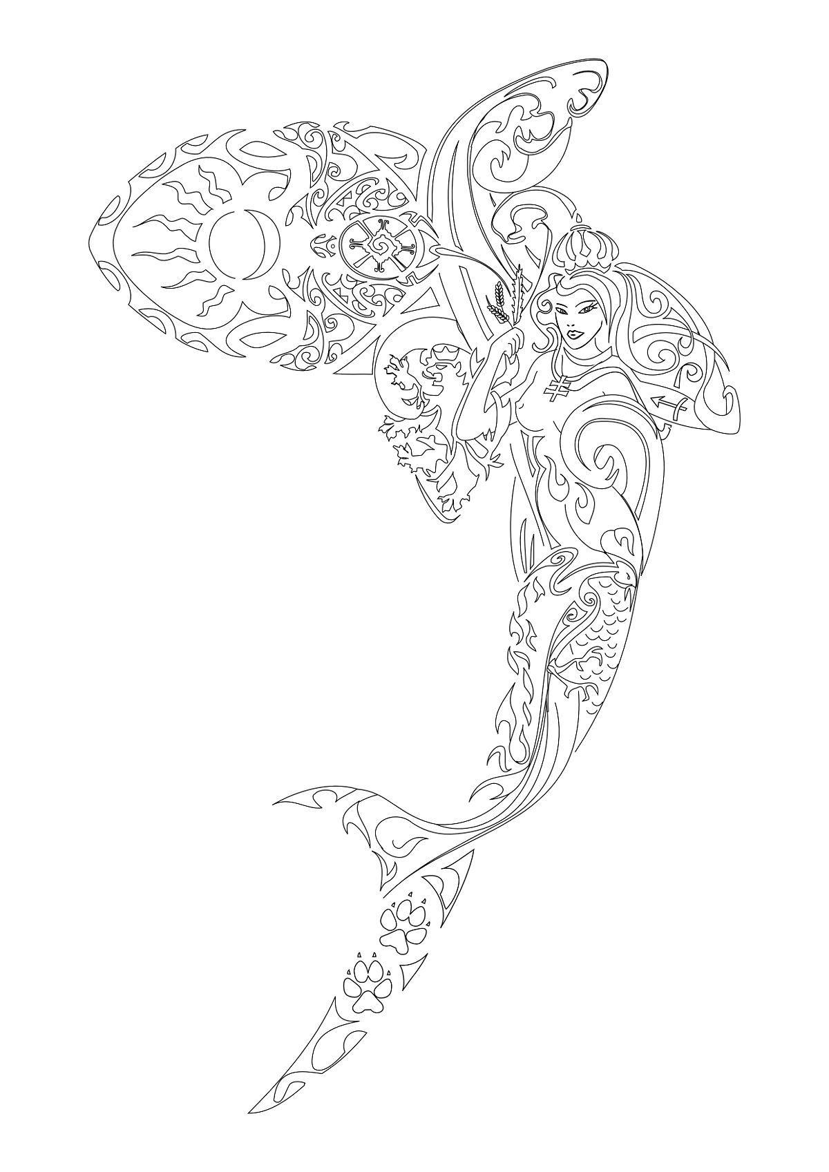 I like the way this mermaid looks like she\'s within a fish ...