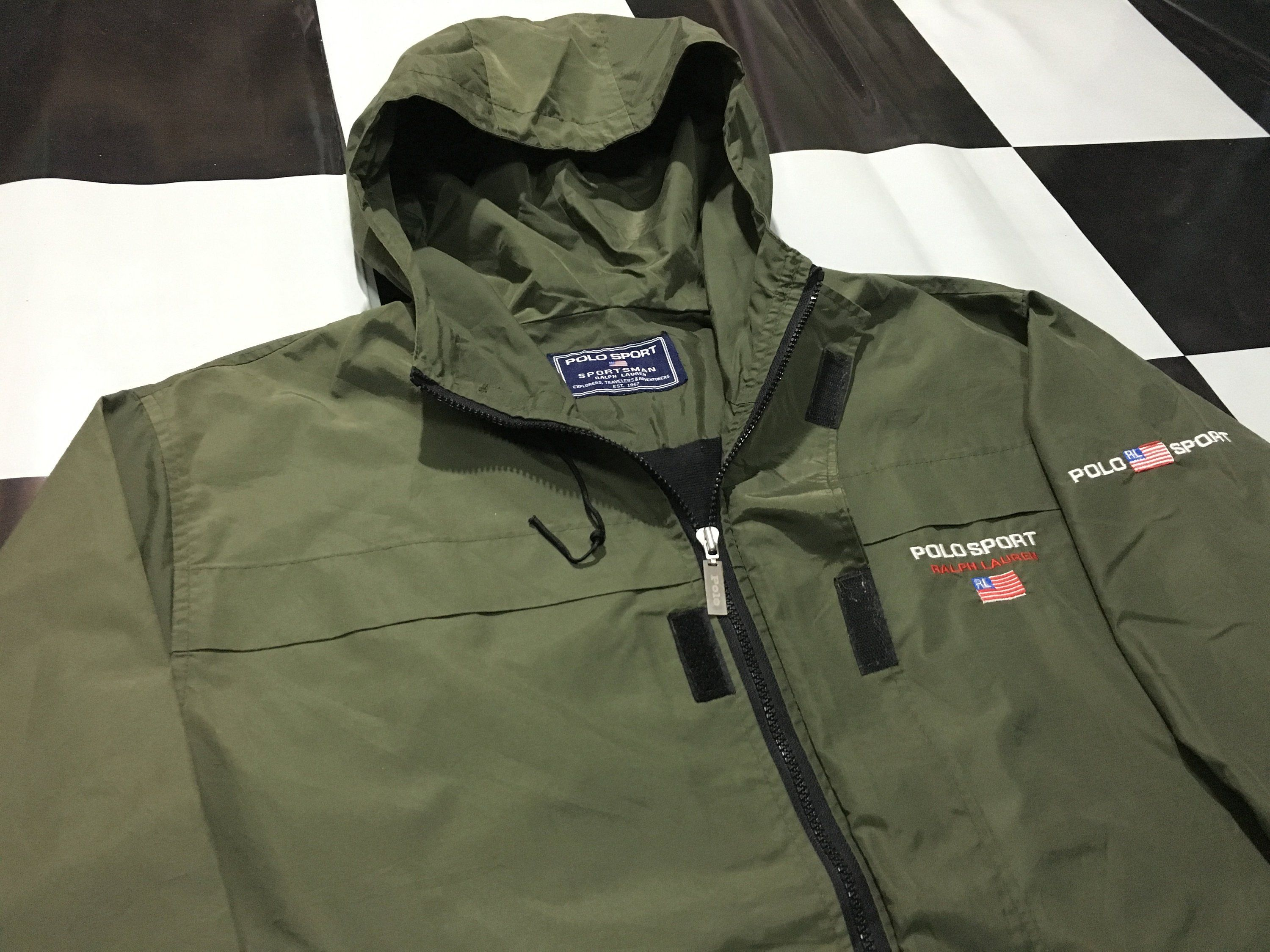 d82cdd8e1 Vintage Polo sport jacket hooded windbreaker flag logo spell out Military  Green Size XL Excellent condition Polo sportsman ralph lauren by  AlivevintageShop ...