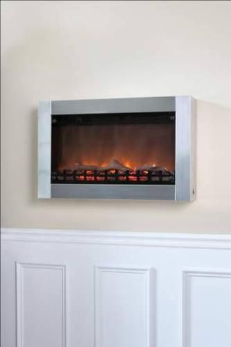 Wall Mounted Electic Fireplace Stainless Steel At Menards Wall