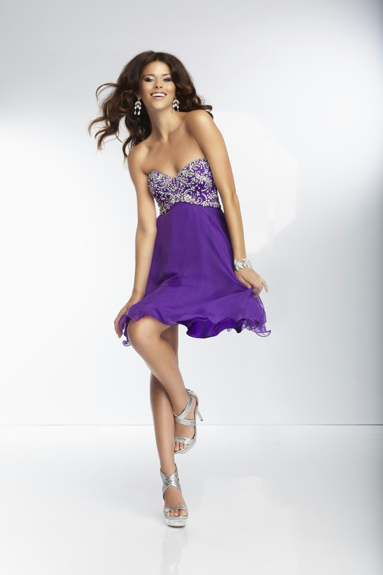 Sweetheart Short Purple Chiffon A Line Cocktail/Homecoming Dress ...
