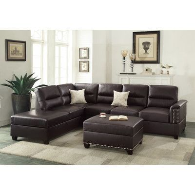 Infini Furnishings Reversible Chaise Sectional Upholstery: Espresso