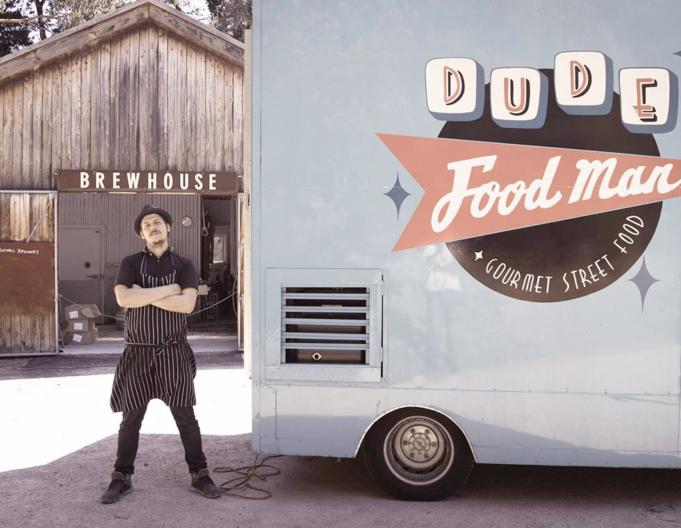 Dude food man a b food truck outfitters food bus