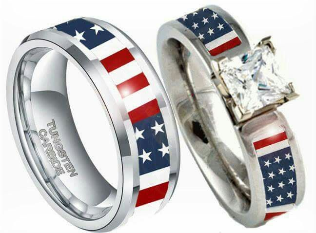 American Flag Camo Wedding Rings Gold Topaz Engagement Ring Couples Ring Set